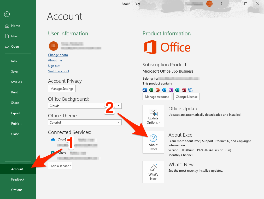 How to check which Excel 2016, 2019 and Office 365 version