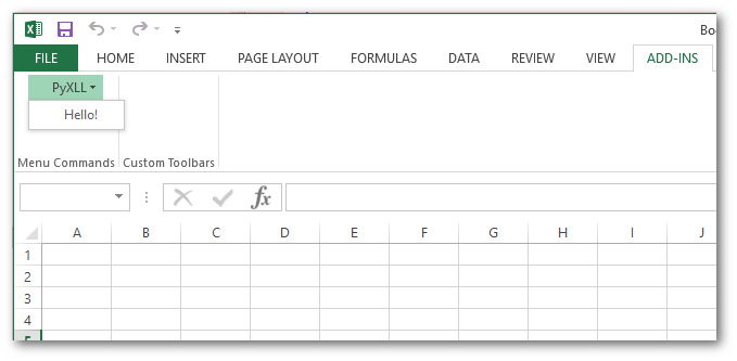 Menu Functions   PyXLL - The Python Excel Add-In
