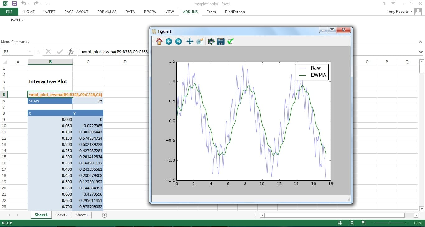 Plotting in Excel with Python and Matplotlib - #1 | PyXLL